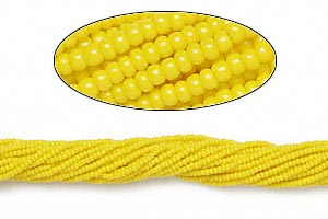 seed bead, preciosa, czech glass, opaque yellow, #11 round. sold per hank.