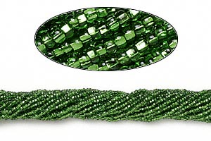 seed bead, preciosa, czech glass, silver-lined translucent green, #11 round with square hole. sold per 1/2 kilogram pkg.
