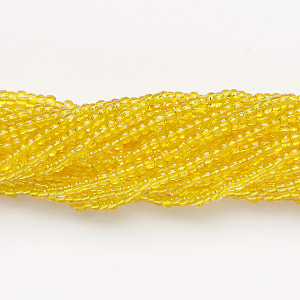 seed bead, preciosa, czech glass, transparent lemon yellow, #11 round. sold per hank.