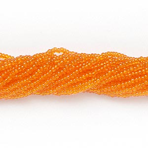 seed bead, preciosa, czech glass, transparent orange, #11 round. sold per 1/2 kilogram pkg.