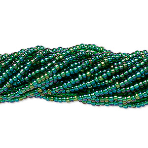seed bead, preciosa, czech glass, transparent rainbow dark green, #11 round. sold per 1/2 kilogram pkg.