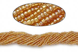seed bead, preciosa, czech glass, transparent rainbow gold, #11 round. sold per hank.