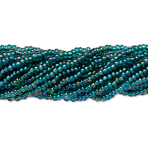 seed bead, preciosa, czech glass, transparent rainbow teal, #11 round. sold per hank.