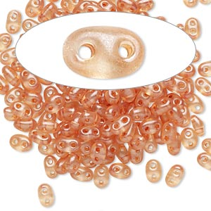 seed bead, preciosa twin™, czech glass, transparent brown terra pearl, 5x2.5mm oval with 2 holes. sold per 10-gram pkg.