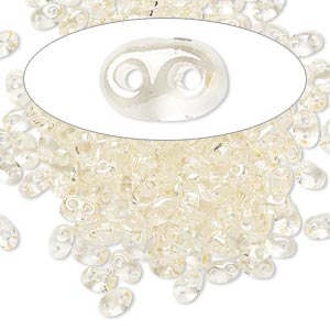 seed bead, preciosa twin™, czech glass, transparent crystal blond flare, 5x2.5mm oval with 2 holes. sold per 10-gram pkg.