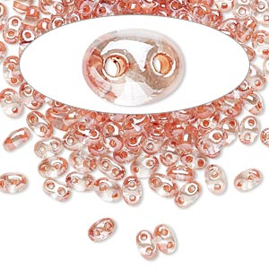 seed bead, preciosa twin™, czech glass, transparent peach-lined clear terra, 5x2.5mm oval with 2 holes. sold per 10-gram pkg.