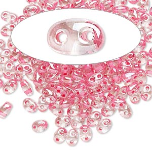 seed bead, preciosa twin™, czech glass, transparent rose-lined clear terra, 5x2.5mm oval with 2 holes. sold per 10-gram pkg.