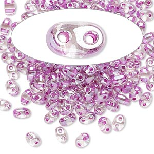 seed bead, preciosa twin™, czech glass, transparent violet-lined clear terra, 5x2.5mm oval with 2 holes. sold per 10-gram pkg.