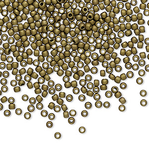 seed bead, toho beads, glass, opaque frosted antique bronze, (tr-11-223f), #11 round. sold per 50-gram pkg.