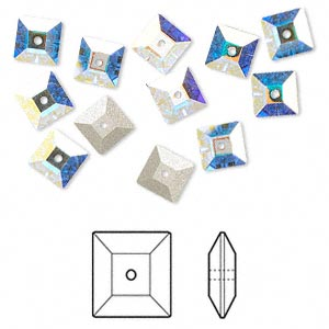 sew-on bead, swarovski crystal rhinestone, crystal passions, crystal ab, foil back, 6x2mm faceted square lochrose (3400). sold per pkg of 12.