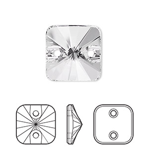 sew-on bead, swarovski crystal rhinestone, crystal passions, crystal clear, foil back, 14mm faceted rivoli square (3201). sold per pkg of 12.