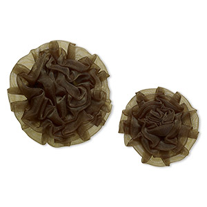 sew-on component, organza, olive green, 2x2 to 2-3/4 x 2-3/4 inch and 2-3/4 x 2-3/4 to 3x3-inch rose. sold per pkg of 2.