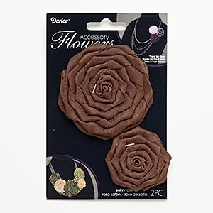sew-on component, satin, brown, 1-3/4 x 1-3/4 to 2x2-inch and 3x3 to 3-1/4 x 3-1/4 inch rose. sold per pkg of 2.