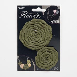 sew-on component, satin, olive green, 1-3/4 x 1-3/4 to 2x2-inch and 3x3 to 3-1/4 x 3-1/4 inch rose. sold per pkg of 2.