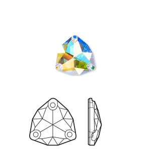 sew-on component, swarovski crystal rhinestone, crystal ab, foil back, 20mm faceted trilliant (3272). sold per pkg of 15.