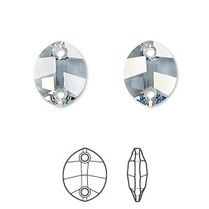 sew-on component, swarovski crystal rhinestone, crystal blue shade, foil back, 14x11mm faceted pure leaf with 2 holes (3224). sold per pkg of 108.