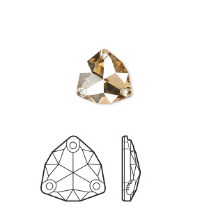 sew-on component, swarovski crystal rhinestone, crystal golden shadow, foil back, 20mm faceted trilliant (3272). sold per pkg of 15.