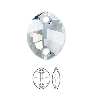 sew-on component, swarovski crystal rhinestone, crystal passions, crystal blue shade, foil back, 23x18mm faceted pure leaf with 2 holes (3224). sold per pkg of 6.