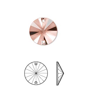 sew-on component, swarovski crystal rhinestone, crystal passions, rose peach p half matte, foil back, 14mm faceted rivoli flat back (3200/g). sold per pkg of 2.