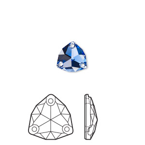 sew-on component, swarovski crystal rhinestone, sapphire, foil back, 16mm faceted trilliant (3272). sold per pkg of 24.