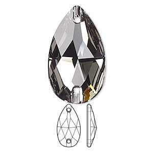 sew-on component, swarovski crystals, black diamond, foil back, 28x17mm faceted pear flat back with 2 holes (3230). sold per pkg of 24.