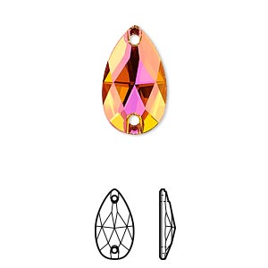 sew-on component, swarovski crystals, crystal astral pink, foil back, 18x10.5mm flat back faceted pear with 2 holes (3230). sold per pkg of 72.