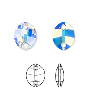 sew-on component, swarovski crystals, crystal passions, crystal ab, 14x11mm faceted pure leaf with 2 holes (3224). sold per pkg of 12.