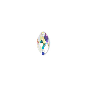 sew-on component, swarovski crystals, crystal passions, crystal ab, foil back, 12x6mm faceted navette flat back with 2 holes (3223). sold per pkg of 48.