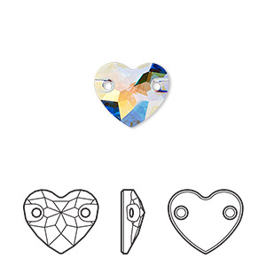 sew-on component, swarovski crystals, crystal passions, crystal ab, foil back, 12mm faceted heart with 2 holes (3259). sold per pkg of 12.