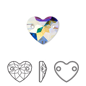 sew-on component, swarovski crystals, crystal passions, crystal ab, foil back, 16mm faceted heart with 2 holes (3259). sold per pkg of 6.