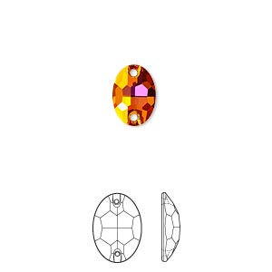 sew-on component, swarovski crystals, crystal passions, crystal astral pink, foil back, 10x7mm faceted oval flat back with 2 holes (3210). sold per pkg of 12.