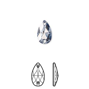sew-on component, swarovski crystals, crystal passions, crystal blue shade, foil back, 12x7mm faceted pear flat back with 2 holes (3230). sold per pkg of 2.