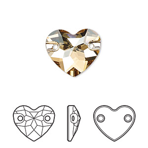 sew-on component, swarovski crystals, crystal passions, crystal golden shadow, foil back, 16mm faceted heart with 2 holes (3259). sold per pkg of 6.