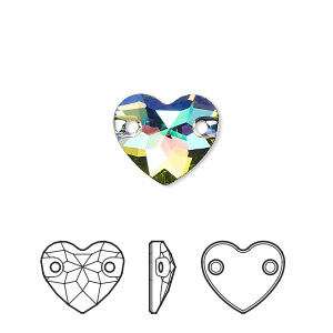 sew-on component, swarovski crystals, crystal passions, crystal paradise shine, foil back, 12mm faceted heart with 2 holes (3259). sold per pkg of 12.