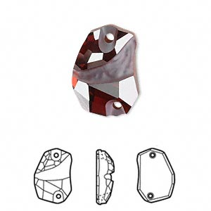 sew-on component, swarovski crystals, crystal passions, crystal red magma, foil back, 19x13mm faceted divine rock flat back with 2 holes (3257). sold individually.