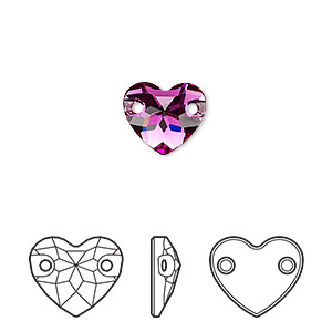 sew-on component, swarovski crystals, crystal passions, fuchsia, foil back, 12mm faceted heart with 2 holes (3259). sold per pkg of 12.