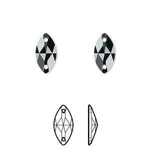 sew-on component, swarovski crystals, crystal passions, jet, foil back, 12x6mm faceted navette flat back with 2 holes (3223). sold per pkg of 12.