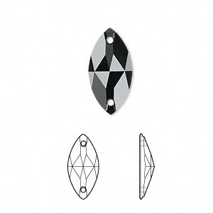 sew-on component, swarovski crystals, crystal passions, jet, foil back, 18x9mm faceted navette flat back with 2 holes (3223). sold per pkg of 2.