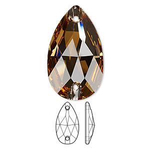 sew-on component, swarovski crystals, crystal passions, light colorado topaz, foil back, 28x17mm faceted pear flat back with 2 holes (3230). sold per pkg of 6.