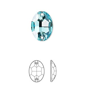 sew-on component, swarovski crystals, crystal passions, light turquoise, foil back, 16x11mm faceted oval flat back with 2 holes (3210). sold per pkg of 2.