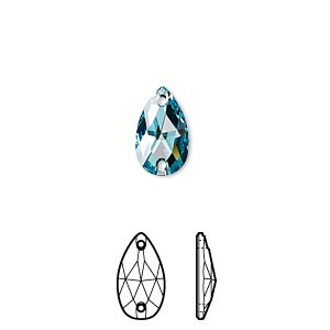 sew-on component, swarovski crystals, crystal passions, light turquoise, foil back, 12x7mm faceted pear flat back with 2 holes (3230). sold per pkg of 12.