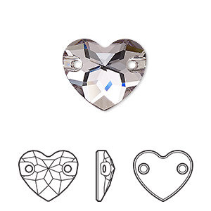 sew-on component, swarovski crystals, crystal passions, smoky mauve, foil back, 16mm faceted heart with 2 holes (3259). sold per pkg of 6.