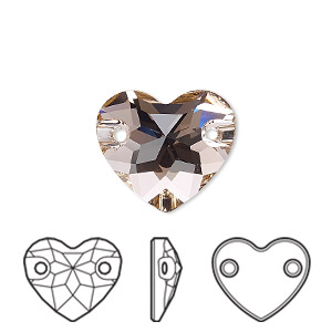 sew-on component, swarovski crystals, crystal passions, vintage rose, foil back, 16mm faceted heart with 2 holes (3259). sold per pkg of 6.