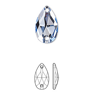 sew-on component, swarovski crystals, light sapphire, foil back, 18x10.5mm faceted pear flat back with 2 holes (3230). sold per pkg of 72.