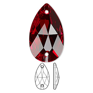 sew-on component, swarovski crystals, light siam, foil back, 28x17mm faceted pear flat back with 2 holes (3230). sold per pkg of 24.