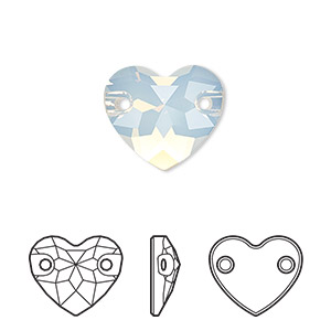 sew-on component, swarovski crystals, white opal, foil back, 16mm faceted heart with 2 holes (3259). sold per pkg of 30.