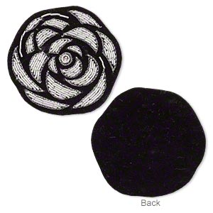 sew-on component, velveteen / glass / silver-finished copper french wire, black, 2-1/4 x 2-1/4 inch flower. sold individually.