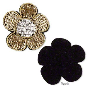sew-on component, velveteen and gold- and silver-finished copper french wire, black, 1-1/2 x 1-1/2 inch flower. sold per pkg of 2.