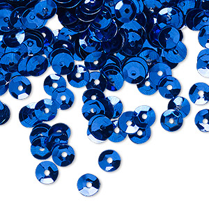 sew-on sequin, plastic, opaque blue, 5mm round. sold per 4-gram pkg, approximately 800 sequins.