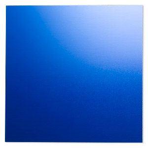 sheet, anodized aluminum, blue, 5-3/4 x 5-3/4 inch square, 20 gauge. sold individually.
